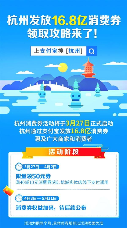 支付宝杭州发放16.8亿消费券